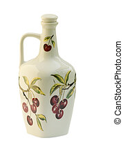 Wine Flagon - Isolated wine flagon with painting over white
