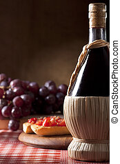 Wine Flask with Bruschette