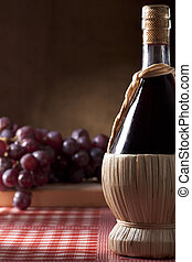Wine Flask with Grapes