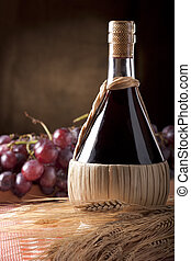 Wine Flask with Wheat and Grapes