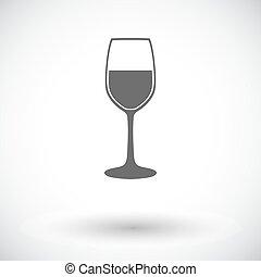 Wine flat icon - Wine glass. Single flat icon on white...