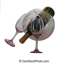 Wine for two - Wine bottle with two glasses and bowl