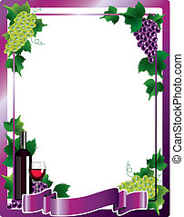 Wine and grapes vertical frame background vector illustration