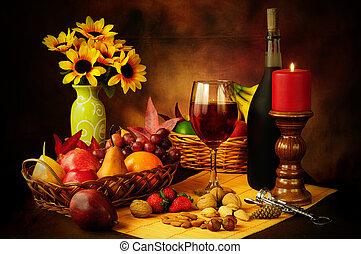 Wine, fruit and nuts still life - Beautiful still life image...