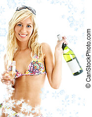 wine girl with snowflakes