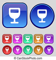 Wine glass, Alcohol drink icon sign. A set of twelve vintage buttons for your design.