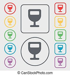 Wine glass, Alcohol drink icon sign. symbol on the Round and square buttons with frame. Vector