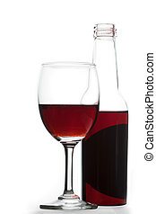 Wine glass and Bottle on white background