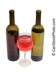 Wine glass and bottle on white