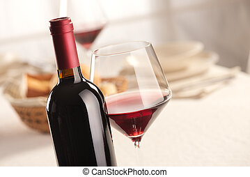 Wine glass and bottle still life - Red wine glass and bottle...