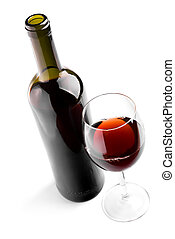 Wine - Glass and bottle with red wine on white