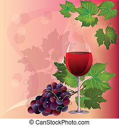 Wine glass and grape - Wine glass and black grape, vector...