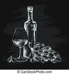 Wine, glass and grapes. Hand drawn graphic illustration