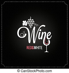 wine glass and grapes vintage design background