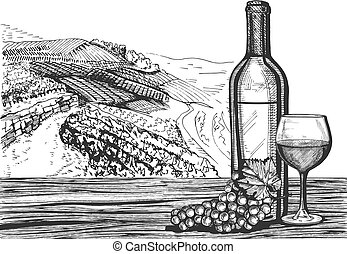 wine glass, bottle and grapes bunch on a landscape