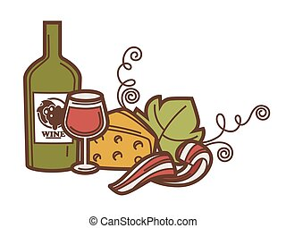 Wine glass bottle, grape vine and cheese vector winemaking...