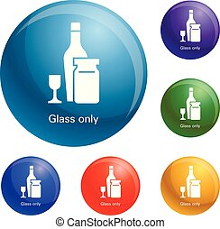 Wine glass bottle icons set vector