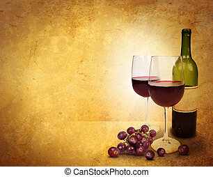 Two wine glasses and a bottle are on an old textured background