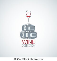 wine glass cellar barrel design vector background