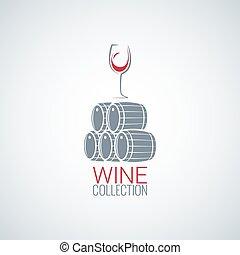 wine glass cellar barrel design vector background