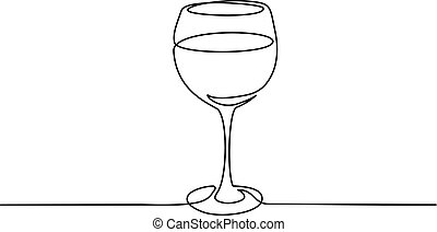 Wine glass Continuous one line drawing vector