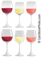Wine glass - Glasses of red, white and pink wine in gradient...