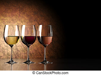 glass of wine: red, white and ros