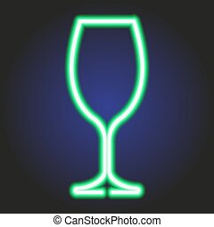 Wine glass glowing green neon of vector illustration