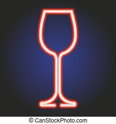 Wine glass glowing red neon of vector illustration