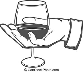 hand with a wine glass, sommelier concept, wine, simple illustration