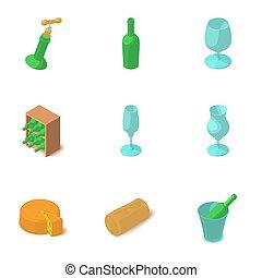 Wine glass icons set, isometric style