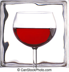 Wine Glass in Front of Glass Block