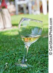 Wine glass in grass