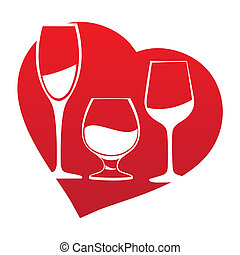 Wine glass inside heart frame