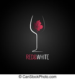 wine glass logo design. Wine leaf red and white concept background