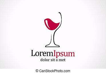 Wine glass logo template. Creative design logotype. Vector