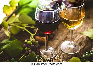 wine - Wine. Glass of white wine in wine cellar. Old white...