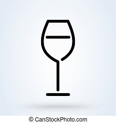 Wine glass outline Symbol. Vector illustration on isolated background.