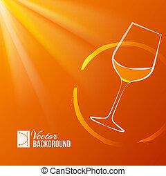 Wine glass over shine backdrop. Vector illustration.