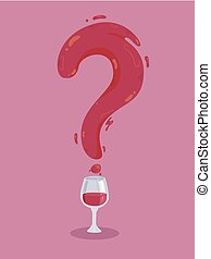 Wine Glass Question Mark Illustration