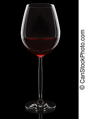 Wine glass - Red wine glass on the black background