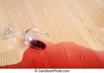 wine glass spill - wine spill on wood - spilled glass of red...