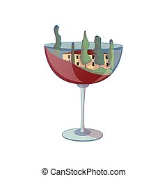 Wine glass with a house inside. Vector illustration on white background.