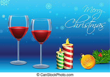 Wine Glass with Candle for Christmas