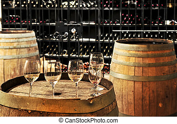 Wine glasses and barrels - Row of wine glasses on barrel in ...