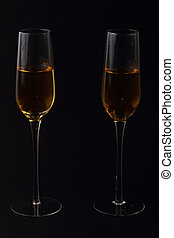 wine glasses and bottle