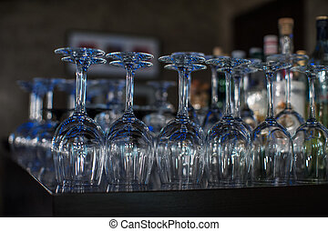 Wine glasses at the bar