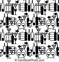 Wine glasses, barrels, grapes and bottles seamless pattern