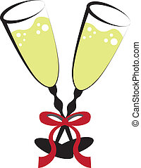 Wine Glasses - Two celebration wine glasses