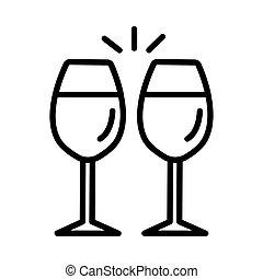 Wine glasses icon on white background, vector illustration